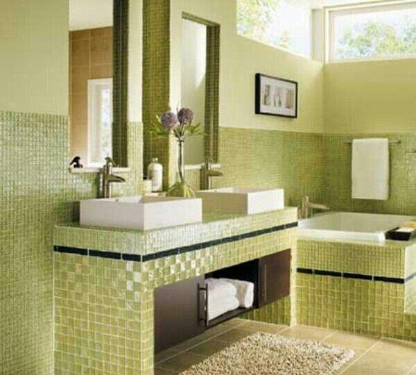 bano-verde-ideas-para-montar-en-el-bano